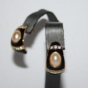Vintage gold black and pearl earrings Joan Rivers